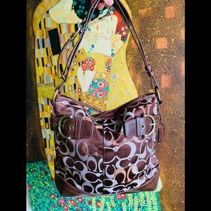 Coach medium square purse authentic leather bag